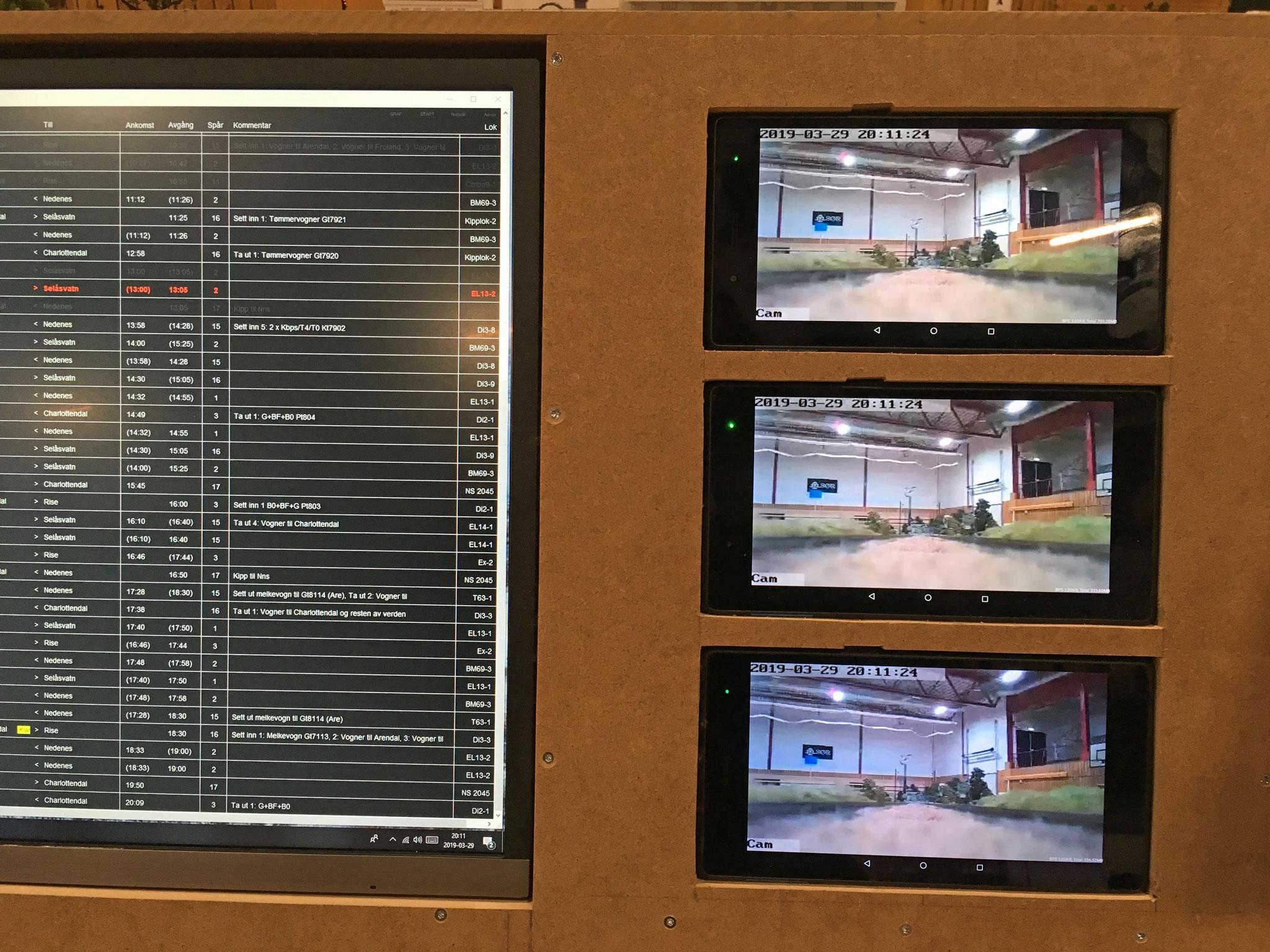 Ved Charlottedals sikringsanlægs betjeningspanel er visse spor kameraovervåget