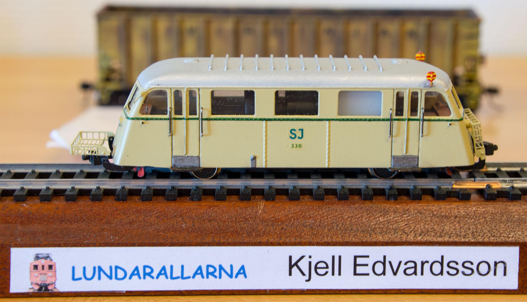Model af Hilding-Carlsson rällsbuss, som er forgænger til Skandia-skinnebusser